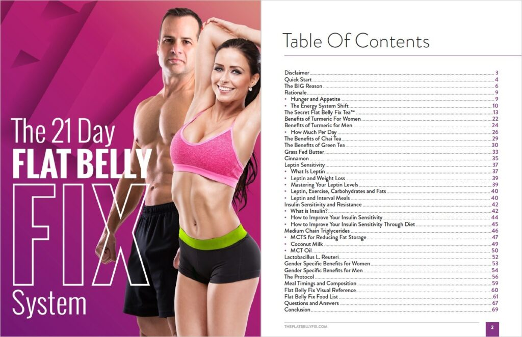 Table of Contents of Flat Belly Fix Pdf Book