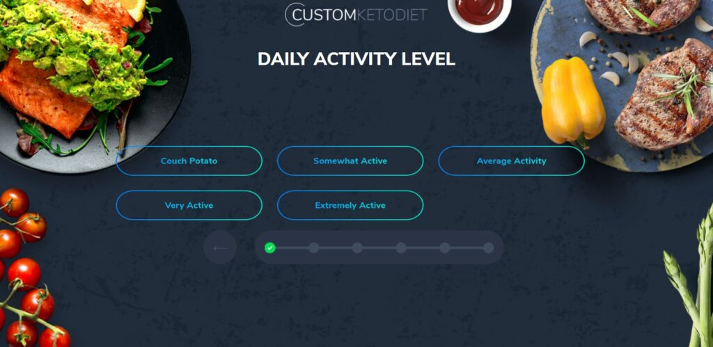 Custom Keto Diet Quiz - Daily Activity Level